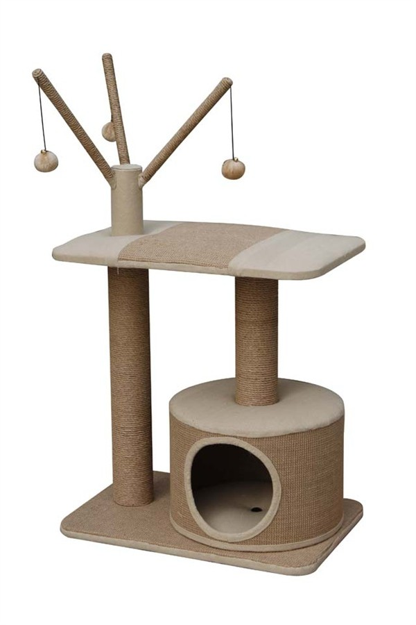 Jute made cat playhouse with condo amp teasers