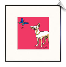 Chihuahua & Butterfly Print in Frame