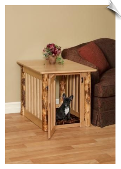 Handcrafted Log Style Dog Crate - End Table