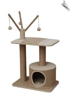 Jute Made Cat Playhouse with Condo & Teasers