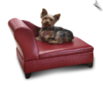 Pet Chaise Bed - with Hidden Storage - Red Basketweave